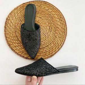 Joie Adiel Black Glitter Mules Flats 39.5